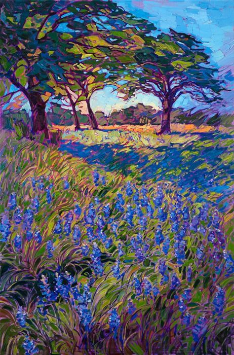 A Blanket Of Spring Bluebonnets Drapes Across The Green Grass Of Texas Hill Country T Contemporary Impressionism Landscape Paintings Fine Art Painting Artists