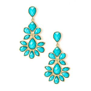 Amrita Singh Kajol Green Turquoise Chandelier Drop Earrings 18k Gold Plated Sing