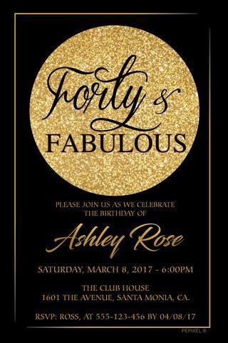 40th Birthday Invitation - Fancy Invitation Birthday invitations
