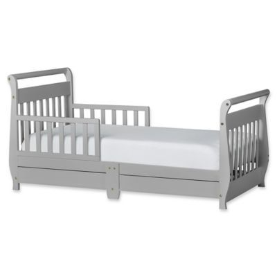 Dream On Me Sleigh Toddler Bed With Storage Drawer In Grey Pebble