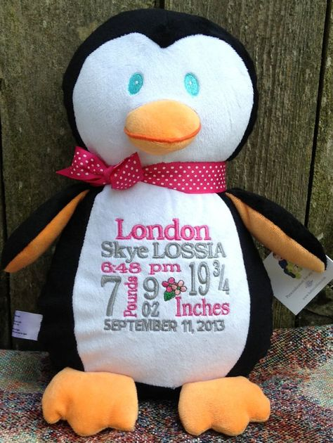 Personalized Baby Gift Monogrammed Baby by WorldClassEmbroidery, $37.99 {maybe not this penguin...}