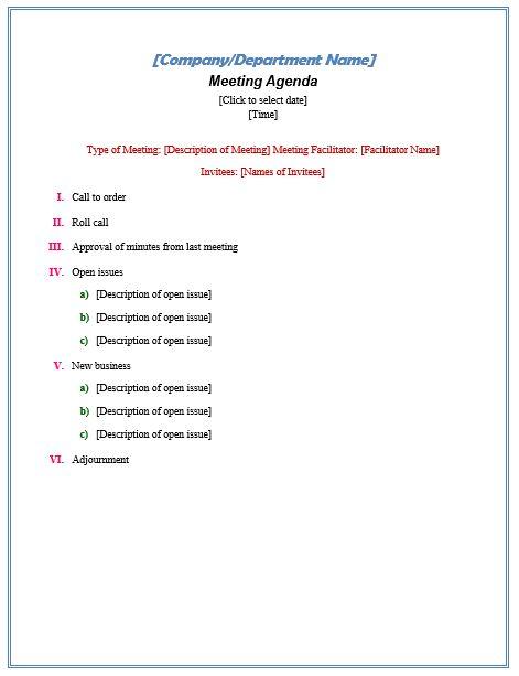 Formal Meeting Agenda Official Templates Pinterest