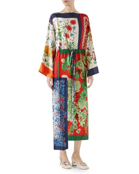Long-Sleeve Multipattern Floral-Print Patchwork Silk Caftan with Uneven Hem by Gucci at Neiman Marcus