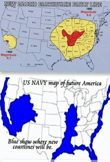 Navy Map Of Future America The New Madrid Earthquake Fault Line - Edgar cayce future us map