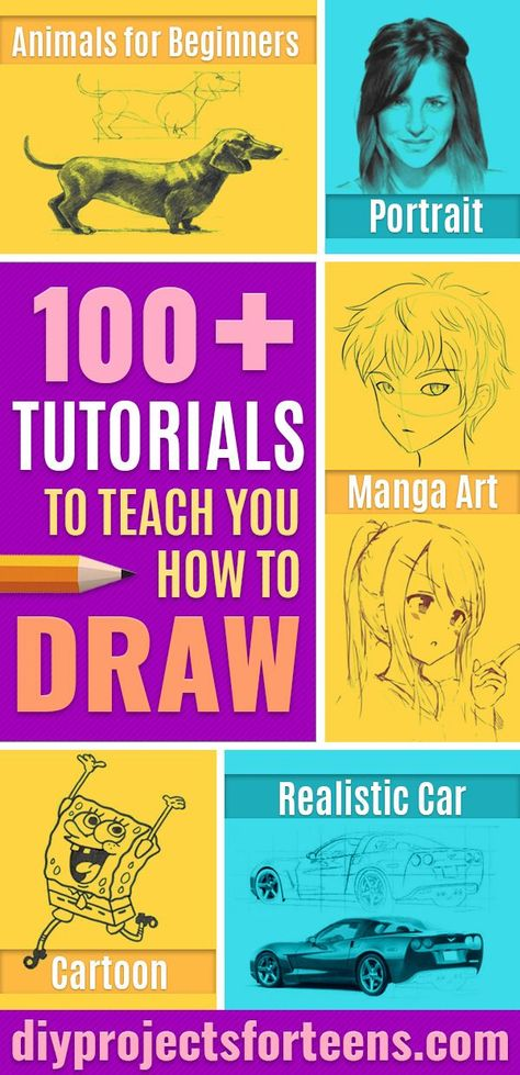 How To Draw Tutorials - 100 Easy Drawing Ideas - Things to Draw -Eyes, Hair, Face, Lips, People, Animals, Hands - Step by Step Drawing Tutorial for Beginners - Free Easy Lessons for Kids, Teens and Adults to Try These Easy Drawing Ideas    #drawing #artlessons #easydrawings #drawingtutorials #drawinglessons #teencrafts via @diyprojectteens