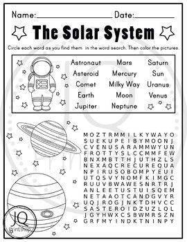 Solar System Worksheets Planets Worksheets Word Search And Maze
