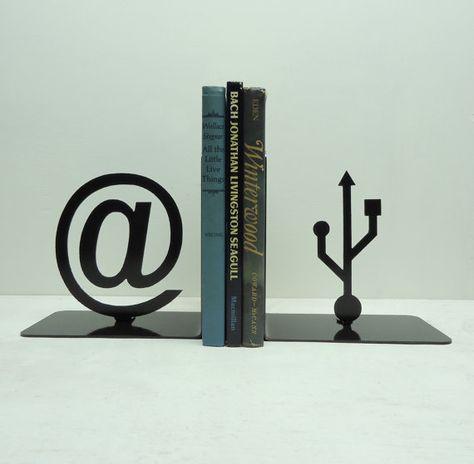 At Symbol and USB Symbol Metal Art Bookends - FREE USA Shipping