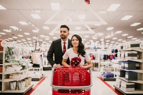 Think You Love Target This Couple Had Their Wedding Photos Taken There Target Wedding Wedding Photoshoot Couples Engagement Photos