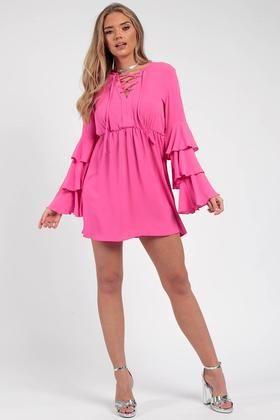 Bell Sleeve Lace & Eyelet Skater Dress Hot Pink Elegant