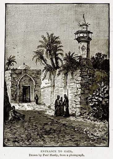 المسجد العمري الكبير و مدخل خان الزيت القيساريه اوائل العهد العثماني Art Painting