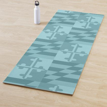 Maryland Flag Monochromatic Yoga Mat Blue Create Your Own Personalize Maryland Flag Simple Pins Monochromatic