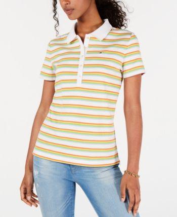 Tommy Hilfiger Stripe T Shirt With Rainbow Logo