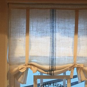 White Burlap 36 Inch Long Burlap Curtain Blind Tie Up Swedish Roll Up Shade Tie Up Curtain Swag Balloon Modern Farmhouse Simplicity Simple Tie Up Curtains Curtains With Blinds Burlap Window Treatments