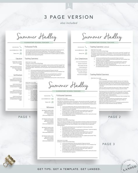 Teacher Resume Template for Word and Pages, Teaching Resume   The Summer