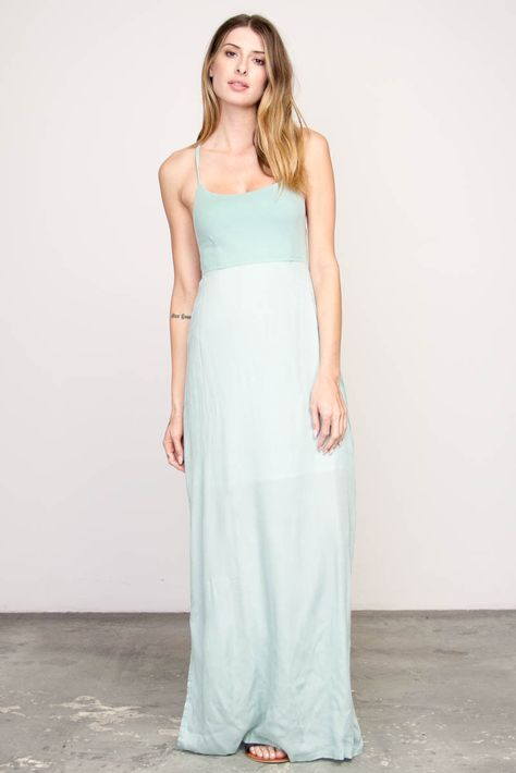 3416bfd8d46 The RVCA Kambria is a maxi dress with a fitted jersey knit bodice and woven maxi  skirt. The dress has a RVCA solo label at the center back.