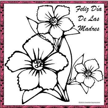 Feliz Dia De Las Madres Printable Flower Coloring Pages Flower