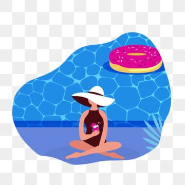 Female At Swimming Pool On Summer Season Summer Person Vector Png And Vector With Transparent Background For Free Download Summer Cartoon Seasons Bikini Illustration