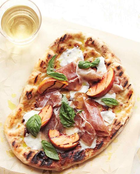 Grilled-Peach Pizzas with Prosciutto   Martha Stewart