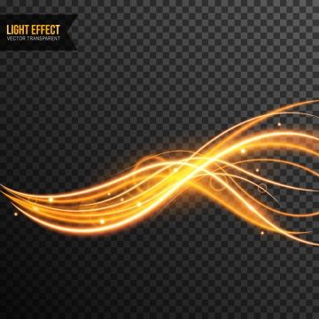 Light Effect Vector Transparent With Line Swirl And Golden