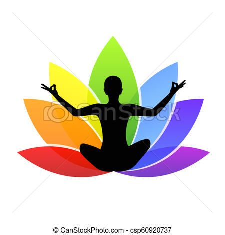 Young Person Sitting In Yoga Meditation Lotus Position Silhouette With Colorful Lily In Rainbow Colors Vector Sto In 2020 Stick Figure Drawing Colorful Lily Art Icon