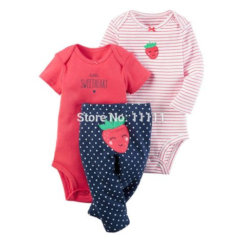 Cheap roupa infantil, Buy Quality baby layette clothing directly from China baby boy girl clothes Suppliers: baby boy girl clothes set strawberry (long sleeve +short sleeve + pants)kids boy bebes baby layette Clothing Sets roupa infantil