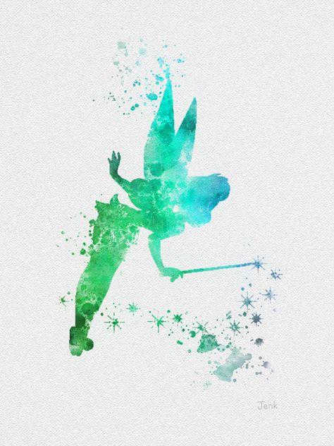 """Tinker Bell Fairy, Peter Pan ART PRINT 10 x 8 """"illustration, Disney, technique mixte, Home Decor, pépinière, Kid, rouge"""