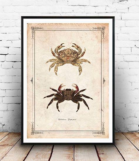 Crab Vintage neo retro animals crab drawing por SoulArtCorner