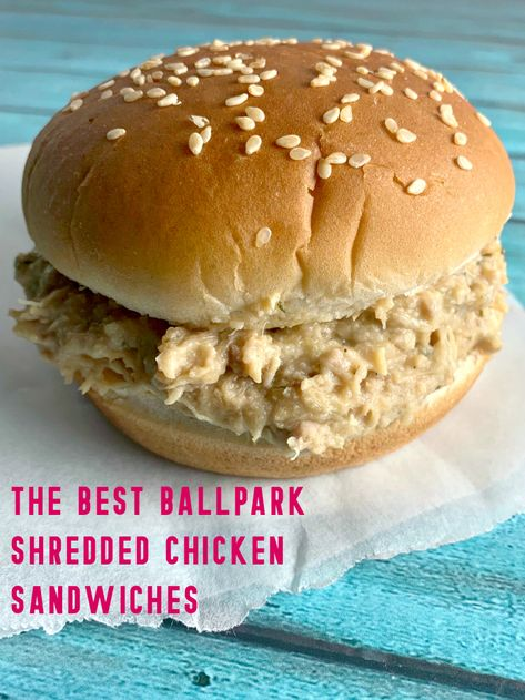 Crockpot Ohio Shredded Chicken Sandwiches are the delicious sandwich we used to order at the baseball field snack shack. Hot, creamy, shredded chicken piled on a soft hamburger bun. the perfect easy meal for your family or to feed a crowd! Shredded Chicken Sandwiches, Chicken Sandwhich, Easy Shredded Chicken, Slow Cooker Shredded Chicken, Slow Cooker Chicken Tacos, Chicken Taco Recipes, Chicken Sandwich Recipes, Slow Cooker Recipes, Crockpot Recipes