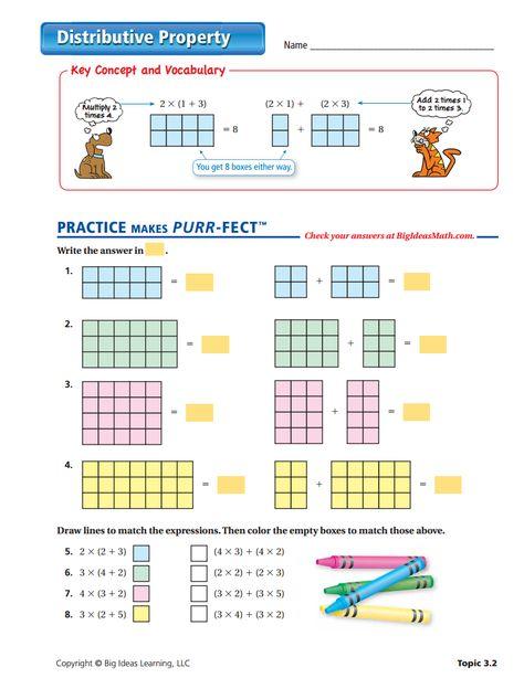 Distributive Property Worksheet 3rd Grade Math Worksheets Distributive Property 3rd Grade Math Distributive property worksheet answers