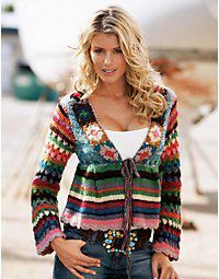crochet sweater, i like how stripes alternate with squares (only chevrons missing ;-)