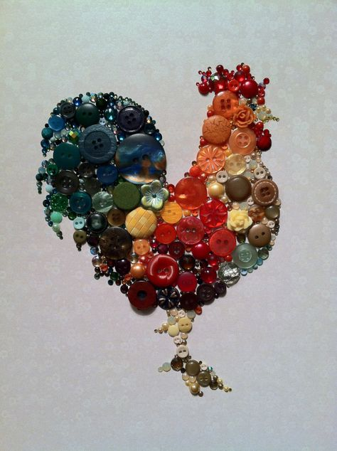 Kitchen Rooster Kitchen Art Buttons and Swarovski Art. $84.00, via Etsy.