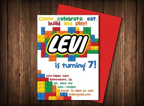 Bricks Kids Birthday Invitation Personalized DIY Printable With Customized Name Design