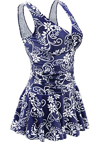 AONTUS Swimwear One Piece Plus Size Swimming Dress for Women Tummy Control with Skirt Cover Ups