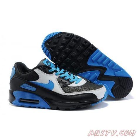 newest 0ea89 4585a Air Max Homme Nike Air Max 90 Hommes Noir Blanc Bleu