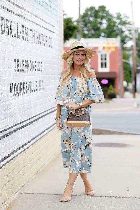 2eff17d7 Blue floral ofshoulder dress | fashion | Fashion, Dresses, Jumpsuit
