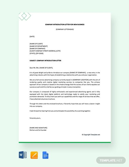 Free Company Introduction Letter For New Business Letter