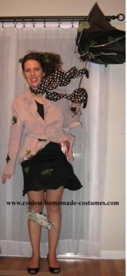 Homemade Wind Blown Lady Costume: I made this costume by putting wire in the seams of the jacket and all the seams of the skirt (both around the bottom of the skirt and also vertically