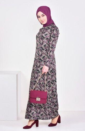 Sefamerve Desenli Elbise 8806 02 Vizon Murdum Elbise The Dress Giyim