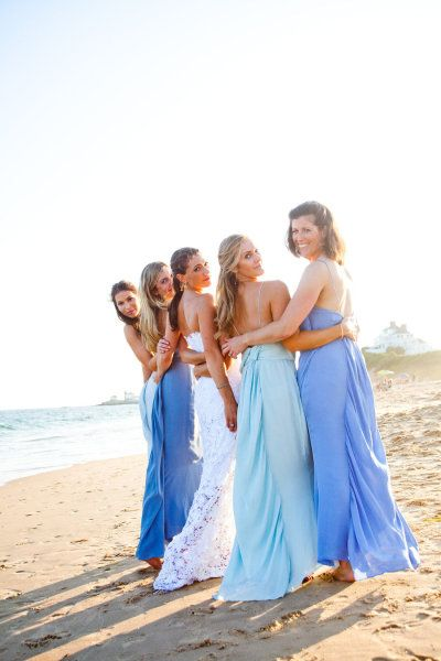 Great something blue idea! The dresses get lighter until they turn white when the bride walks down the aisle.