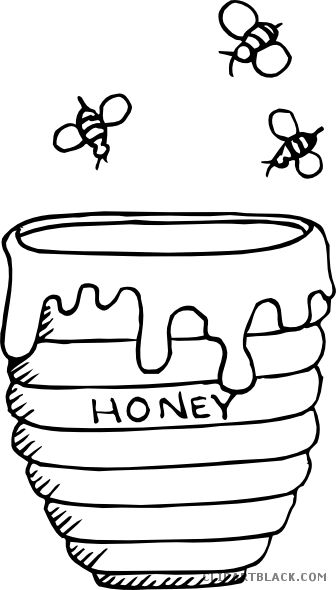 Honey Bee Animal Free Black White Clipart Images Clipartblack Honey Pot Coloring Page 336x590 Bee Coloring Pages Honey Jar Bee Drawing