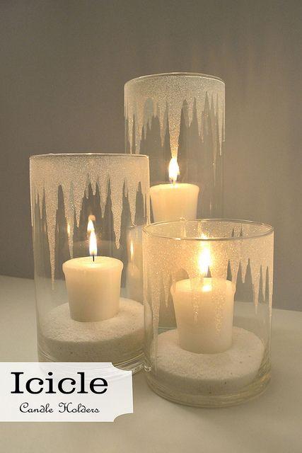 Eis-Lichter ❄️ Ice-Lights (Glas mit Klebe im Zick-Zack beschmieren und mit Zucker bestreuen)
