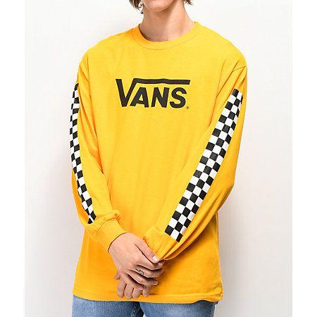 Vans Classic Checkered Gold Long Sleeve T-Shirt | Vetements ...