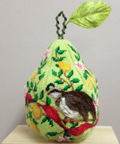 Kate Dickerson Needlepoint 12 Days of Christmas pears