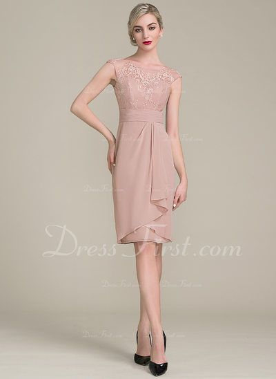 Sheath Column Scoop Neck Knee Length Cascading Ruffles Zipper Up Cap Straps Sl Cocktail Dress Lace Mother Of The Bride Dresses Long Mother Of The Bride Dresses
