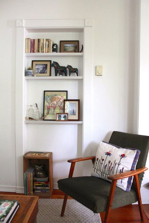 Heather & Eric's Cozy Victoria Cottage - love this idea for a small shelf unit