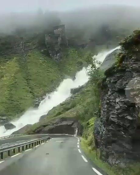 This waterfall located in in Trollstigen, Norway