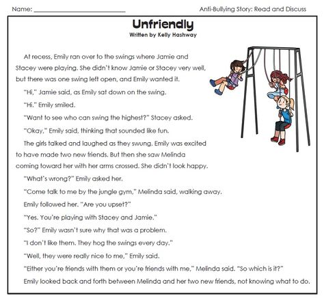 Check out our Anti-Bullying worksheets page.  Read the stories and discuss them with your children or students.