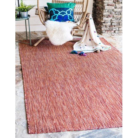 Patio Garden Red Area Rug