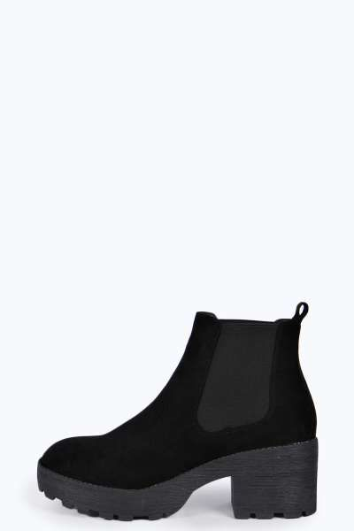52fcc33090a Jessica Elastic Insert Low Cleated Ankle Boot at boohoo.com | My ...