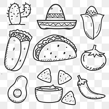 Set Of Mexican Food Doodle Vector Illustration In Hand Drawn Style Menu Clipart Food Burrito PNG and Vector with Transparent Background for Free Download in 2020 How to draw hands Doodles
